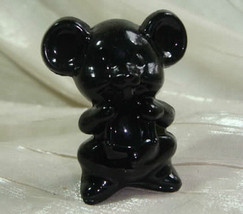 "2"" Willie The Mouse Classic Black Solid Glass by Boyd 1991 - $9.49"
