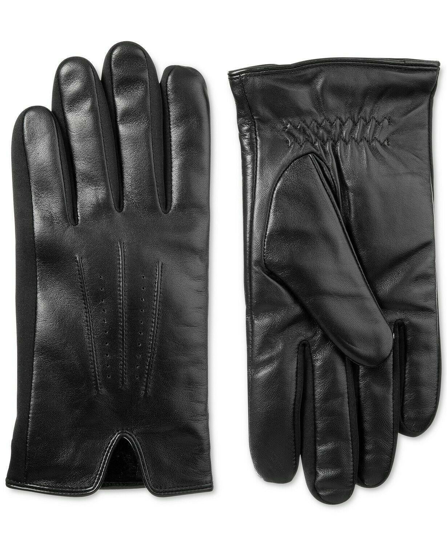 Isotoner Men's Classic Black Leather SleekHeat Touchscreen Gloves Large NWT