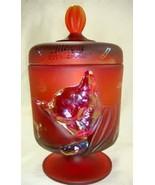 Fenton Chessie Cat Jar Ruby Red Satin Candy Dish Merry Christmas Santa w... - $149.59