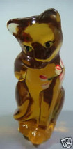 "Fenton 4"" Grooming Cat Hand Painted Autumn Gold Glass Kitty Kitten - $37.39"