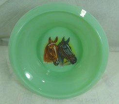 Child's Cereal Bowl Pair of Horses Chestnut & Mustang Green Milk Glass J... - $18.68