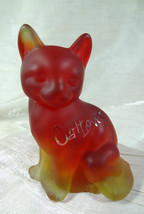 Fenton Sitting Cat Amberina Red Satin Glass Sand Carved Cat Lover - $46.74