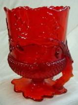 Acorn Spooner Ruby Red Glass Vase Mosser - $32.71