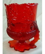 Acorn Spooner Ruby Red Glass Vase Mosser - $32.71
