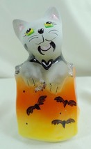 Fenton Cat in a Bag Count Batula Hand Painted Halloween - $39.74