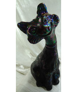 """Fenton 11"""" Alley Cat Black Satin Sand Carved Glass Kitty Scarecrows Pump... - $170.64"""