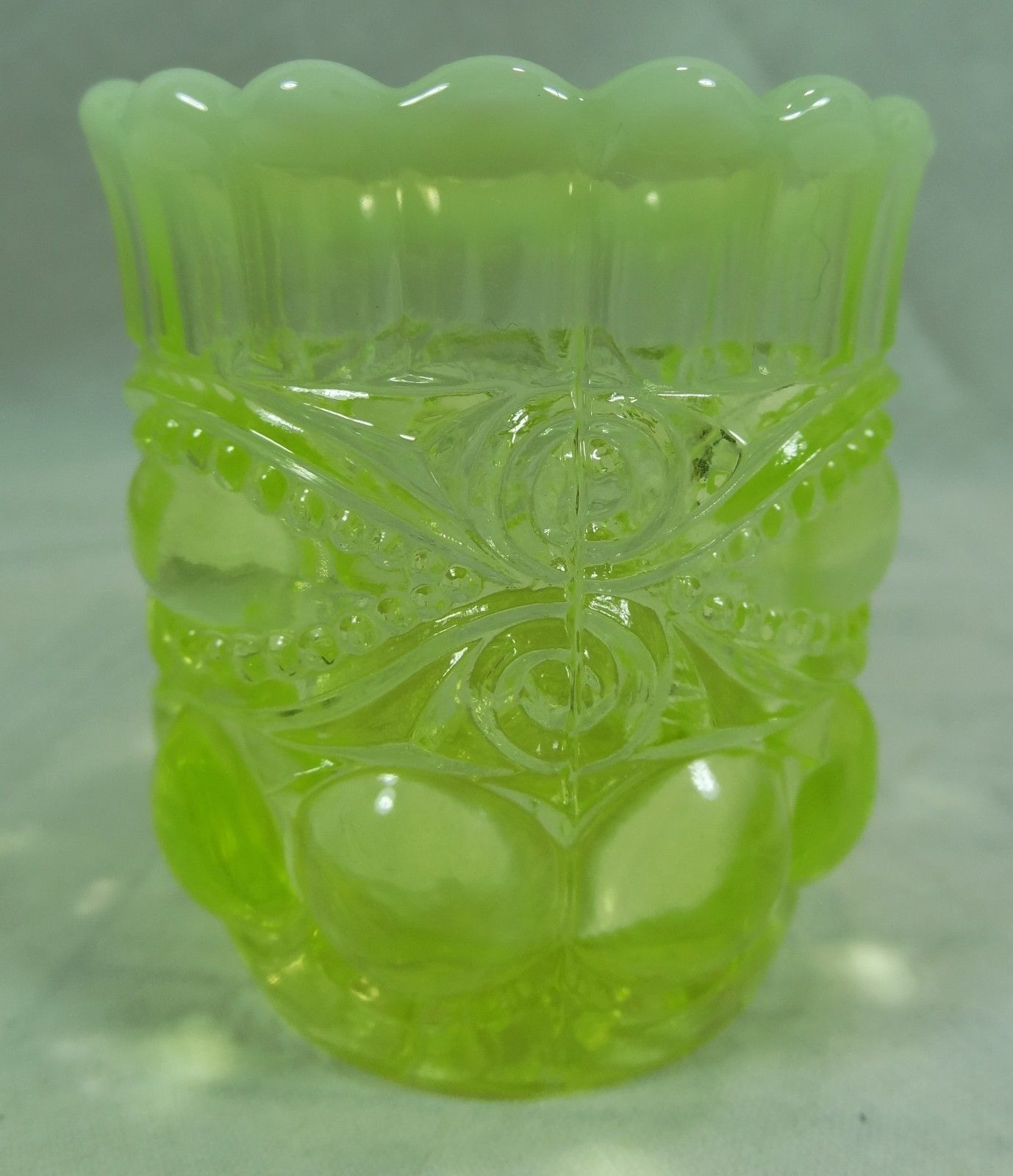 Eye Winker Pattern Toothpick Holder Vaseline Opalescent Glass - $14.49