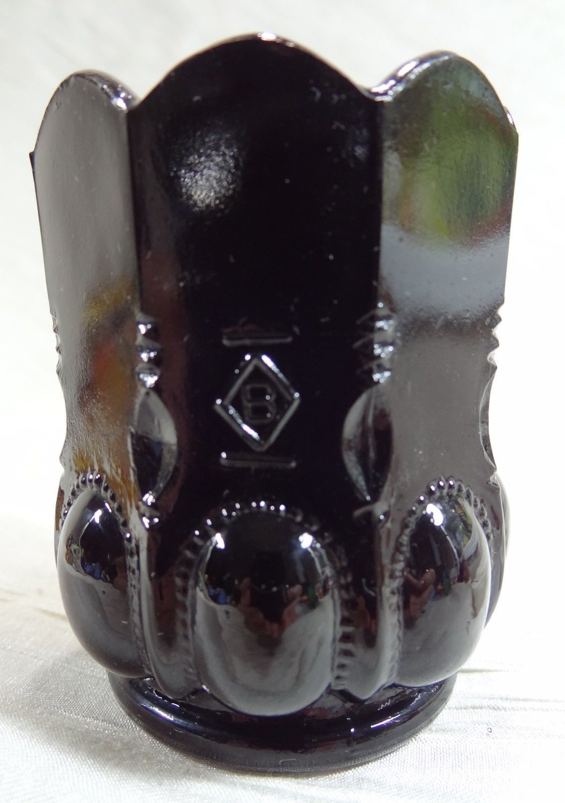 Primary image for Beaded Oval Toothpick Holder Classic Black Glass 10-18-1991 Ebony