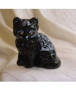 Fluffy Sitting Cat BlackEbony Solid Glass Hand Painted W/ Spider & Web H... - $28.04