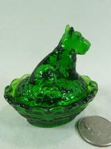 Scottie Dog Salt Dip Meadow Green Glass Scottish Terrier 9/27/2007 Boyd - $15.88