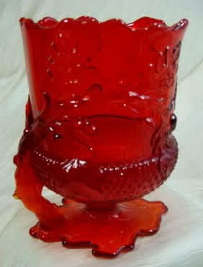 Acorn Spooner Ruby Red Glass Vase Mosser