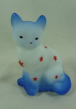 Fenton Sitting Cat Opal Satin And Red Sand Carved Stars With Blue Air br... - $58.44