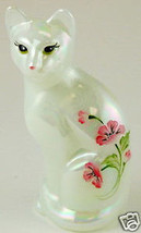 Fenton Stylized Cat Glass Mother of Pearl Kitten Roses - $48.61