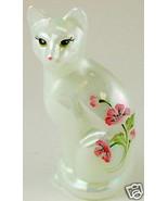 Fenton Stylized Cat Glass Mother of Pearl Kitten Roses - $48.61