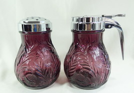 Inverted Thistle Pattern Amethyst Glass Powdered Sugar Shaker & Syrup Pi... - $44.41