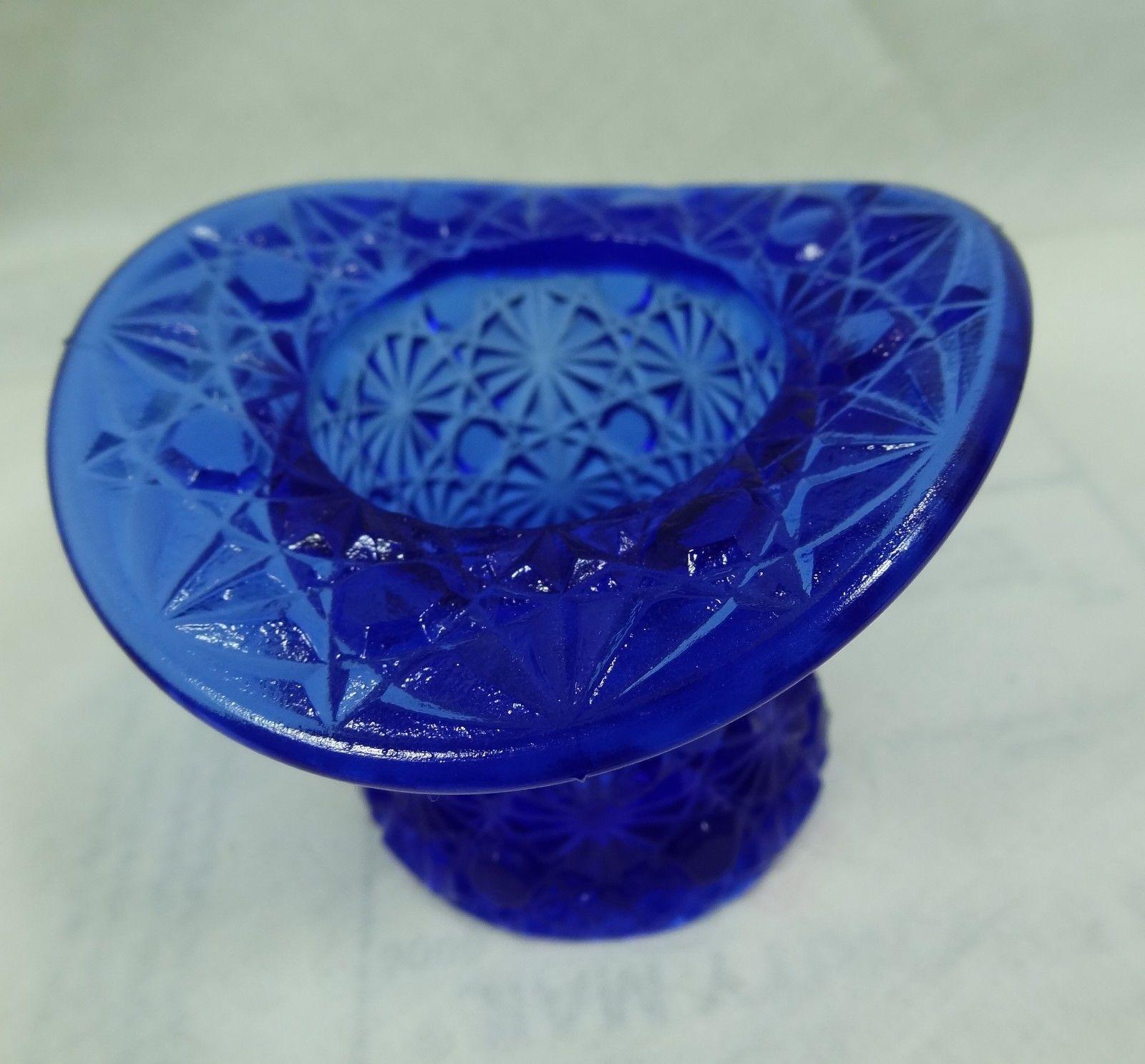 Boyd Daisy & Button Top Hat Toothpick Holder Cobalt Blue Glass - $18.69