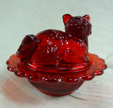 Cat on Nest Salt Dip Ruby Red Glass Kitty Kitten - $18.69