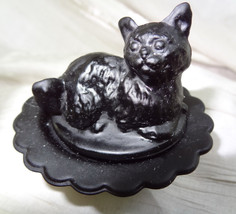Cat on Nest Salt Dip Kitty Kitten Black Glass - $16.82