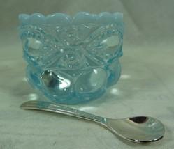 Eye Winker Salt Dip Aqua Blue Opalescent Glass With Silver Plated Salt S... - $14.49