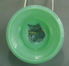 Child's Cereal Bowl Long Grey Haired Cat Jadeite Glass Juvenile Jadite  - $18.69