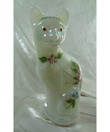 Fenton Stylized Cat Glass Mother of Pearl Hand Painted Roses Kitty - $46.74