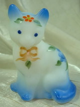 Fenton Sitting Cat Opal Satin Hand Painted Blue Rose With Blue Airbrushing - $46.74