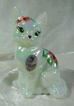 Fenton Sitting Cat Mother of Pearl Milk Glass Hand Painted Poinsettias C... - $51.41