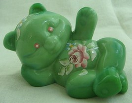 Fenton Reclining Bear Chameleon Green Glass Hand Painted Teddy Bear - $42.06