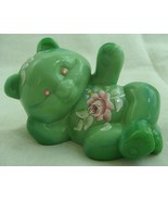 Fenton Reclining Bear Chameleon Green Glass Hand Painted Teddy Bear - $42.06
