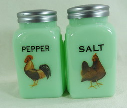 Colorful Hen Rooster Arched Salt & Pepper Shakers Jadeite Glass Jadite R... - £17.56 GBP