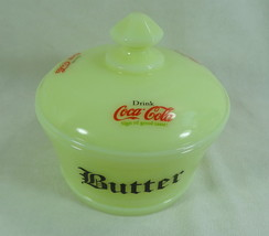 Round Covered Butter Tub Butter Cream Glass with 3 Coca Cola Decals - $28.04