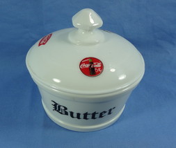 Round Covered Butter Tub White Milk Glass with 3 Coca Cola Decals - $28.04