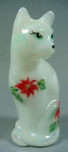 Fenton Stylized Cat Mother of Pearl Poinsettias Kitten - $51.41