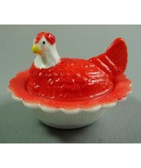 Hen on Nest Salt Dip White Milk Glass Air Brushed & Hand Painted Raspber... - $23.36
