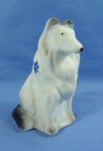 Sitting Collie Milk White Satin Air Brushed Sand Carved With Blue Snow Flakes - $23.36