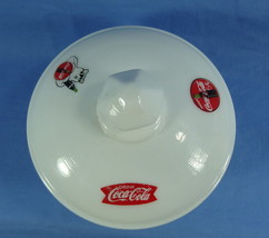Round Covered Butter Tub White Milk Glass with 3 Coca Cola Decals image 2