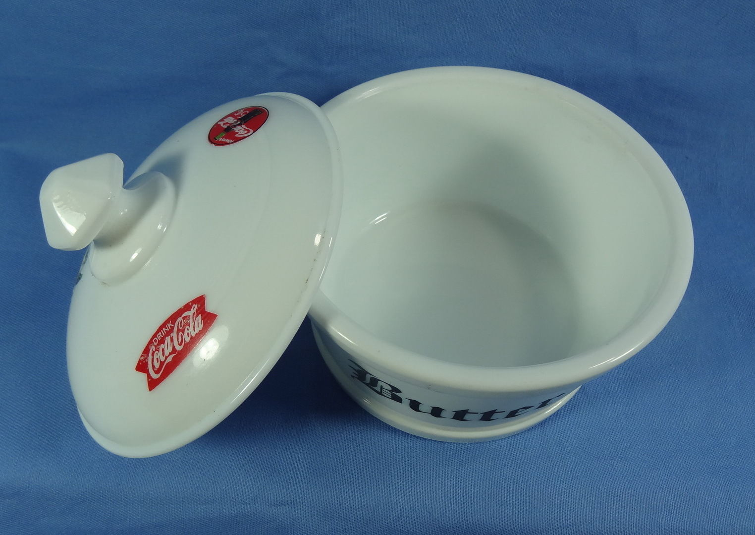 Round Covered Butter Tub White Milk Glass with 3 Coca Cola Decals image 3