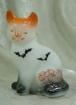 Fenton Sitting Cat Opal Satin Happpy Halloween Air Brushed S/C With Pump... - $56.09
