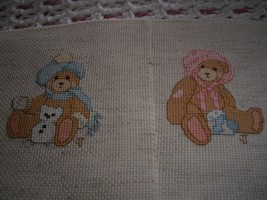 Teddy Bear Completed Cross Stitch Nursery Decor - $125.50