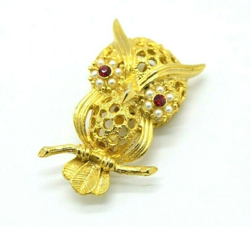 Primary image for GERRYS Owl Brooch Pin Gold Tone Red Rhinestone Faux Micro Pearls