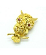 GERRYS Owl Brooch Pin Gold Tone Red Rhinestone Faux Micro Pearls - $19.79