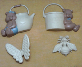 Vintage 4 Piece Burwood Plastic Wall Hangings Bears with Pots // Butterf... - $10.50