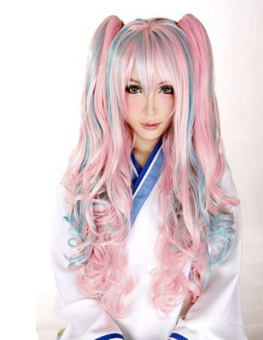 Lolita Women Wavy Curly Hair Anime Full Wig Cosplay Party