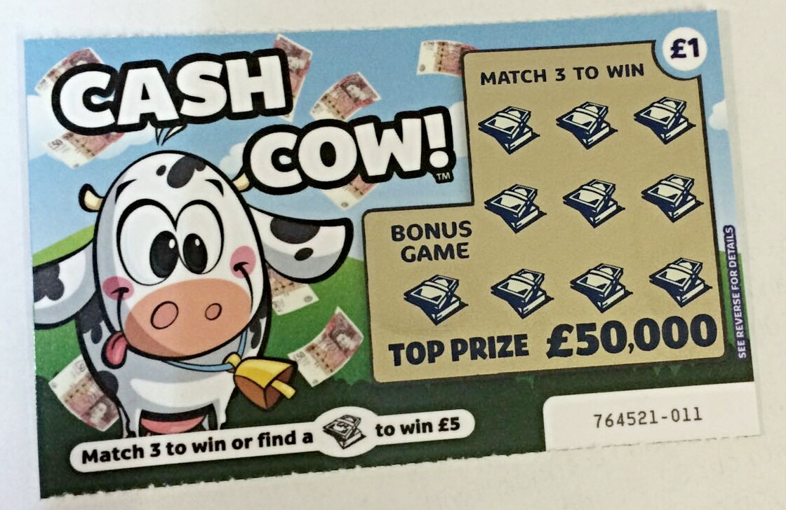 2 x Cash Cow Fake Joke Lottery Scratch Card Tickets - Free Delivery