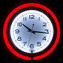 Large Display Red White Double Ring Neon Clock Retro Cafe Recreational G... - $99.95