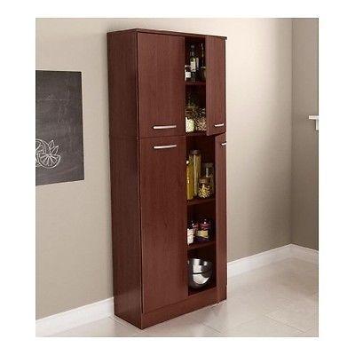 Storage Pantry Cabinet Cherry Kitchen Cupboard Tall Organizer Food Doors Shelf C Cabinets