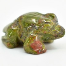 Unakite Jasper Gemstone Tiny Miniature Frog Figurine Hand Carved in China image 2