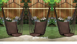 3 lot brown Cotton padded Swing hammock hanging outdoor Chair garden pat... - $106.77