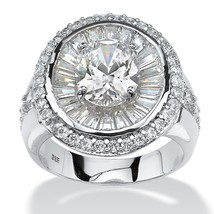 PalmBeach Jewelry 5.67 TCW CZ Halo Ring in Platinum over .925 Sterling S... - $30.82