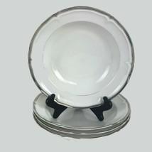 Four Mikasa Hyde Park Platinum Rim Soup Bowls Fine China Dinnerware White  - $55.79